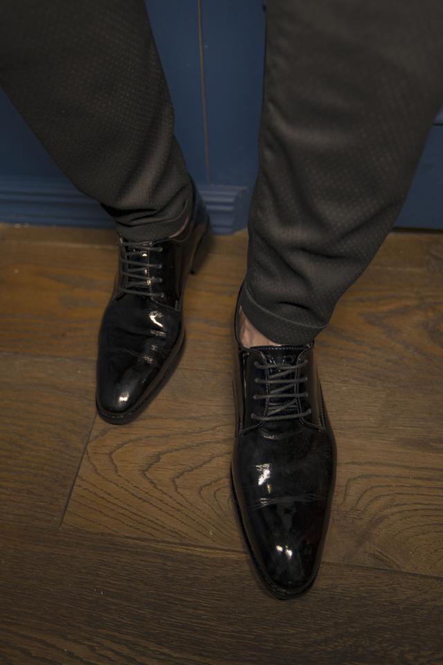 נעל אלגנט שחור מבריק מעור אמיתי, תמונה 1