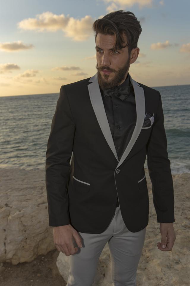 חליפת ספורט אלגנט שילוב שחור ואפור, תמונה 1