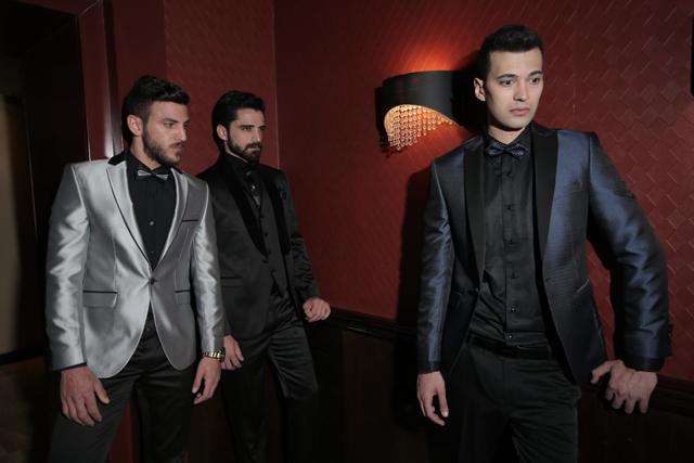 חליפת חתן צבע כחול מבריק שילוב שחור, תמונה 6