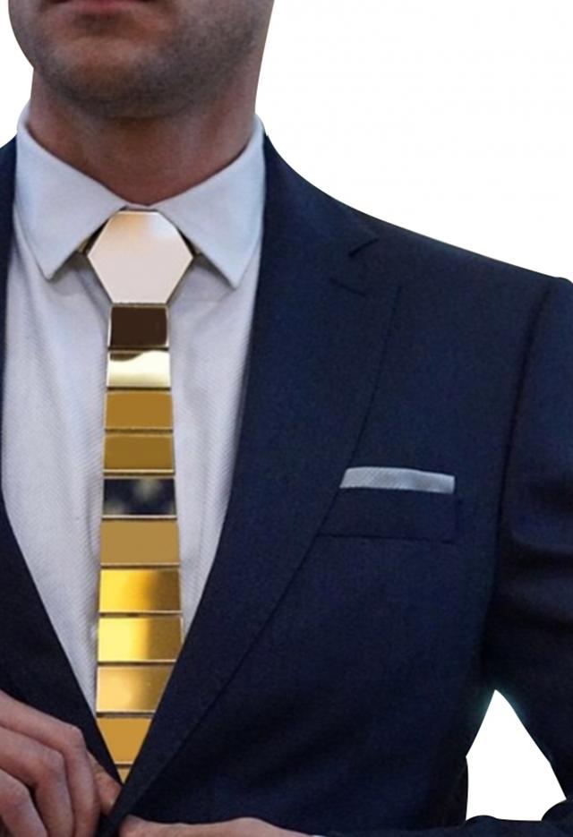 עניבה קרמי צבע זהב, תמונה 3