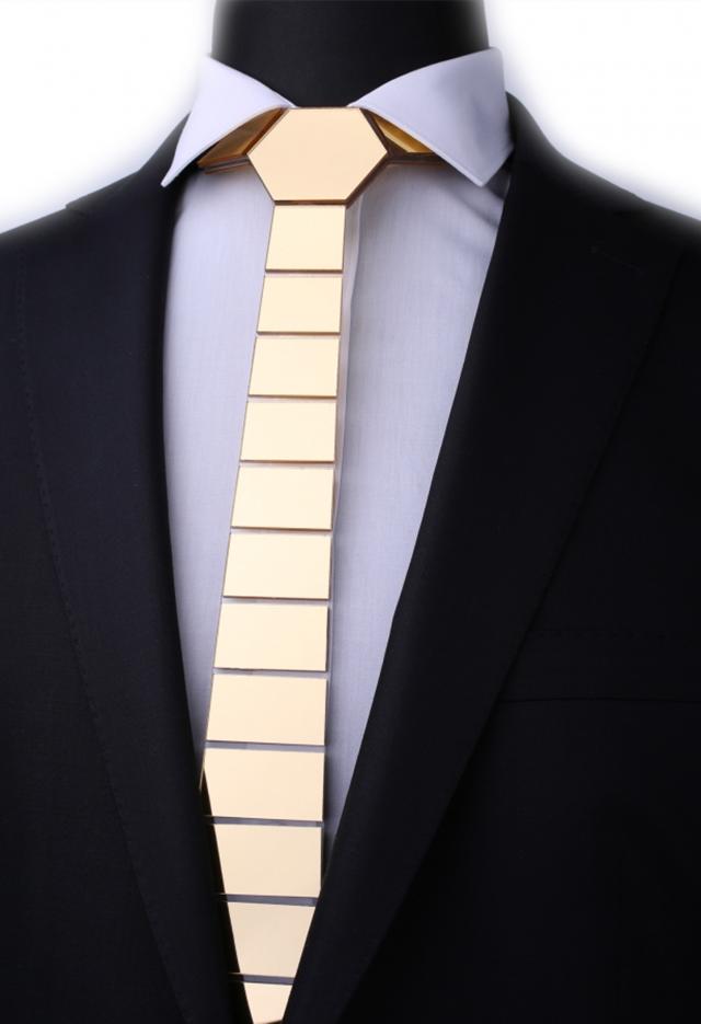 עניבה קרמי זהב מט, תמונה 2