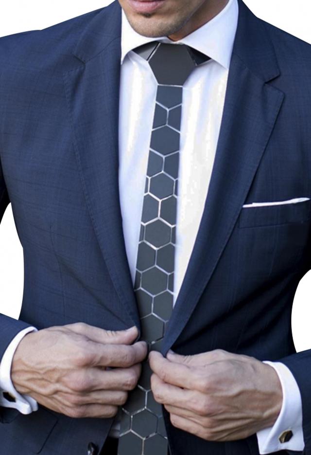 עניבה קרמי צבע כסף מבריק, תמונה 7