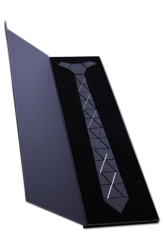 עניבה קרמי צבע כסף מבריק, תמונה 3